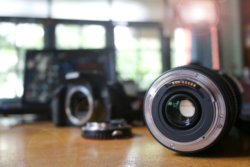 Lens and adapter for used with camera.