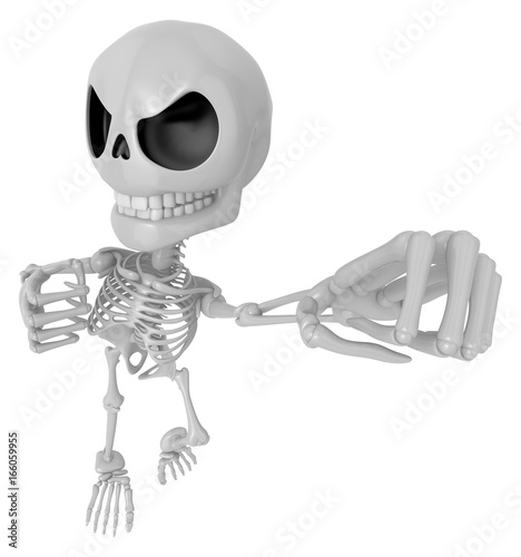 3D Skeleton Mascot is fighting gestures  3D Skull Character