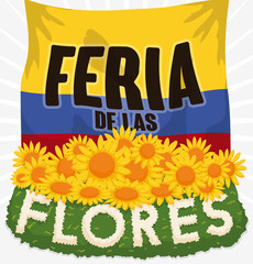 Patriotic Colombian Flag and Floral Arrangement for Flowers Festival, Vector Illustration