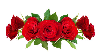 Red rose flowers line arrangemdent