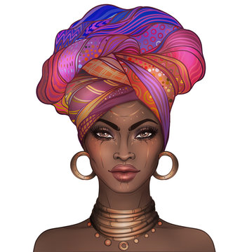 African American pretty girl. Raster Illustration of Black Woman with glossy lips and turban. Great for avatars.
