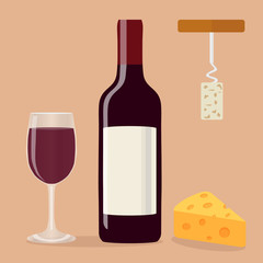 A bottle of wine, a glass of wine, a corkscrew and cheese