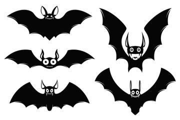 Set of halloween bat icons. Monster bats. Vector illustration