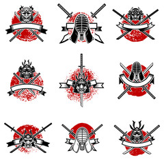 Set of emblems with japanese swords, samurai masks. Japan sword fencing. Design elements for logo, label, emblem, sign. Vector illustration