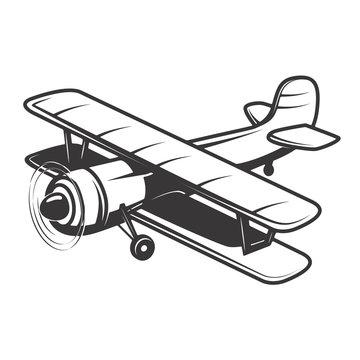 Vintage plane illustration isolated on white background. Design element for logo, label, emblem, sign. Vector illustration
