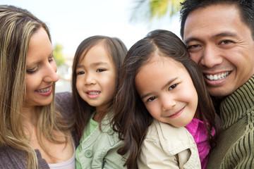 Mixed race family.