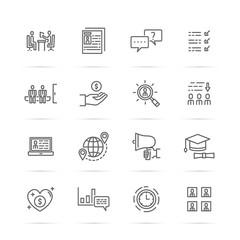 job interview vector line icons