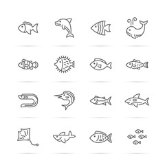 fish vector line icons