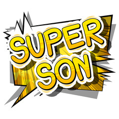 Super Son - Comic book style phrase on abstract background.