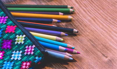 Handcraft pencil case and colors photograph