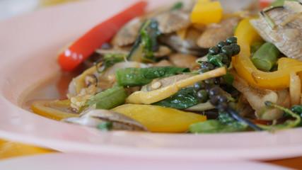 Thai cuisine stir-fried clams with curry or stir fried clams with roasted chili paste