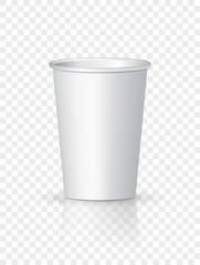 White Paper Coffee Cup isolated. Cardboard vector cup container for tea or coffee