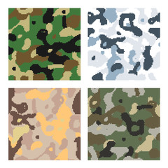 Different modern pixelated camouflage seamless patterns to disguise in forest, snow, desert and jungle isolated on white