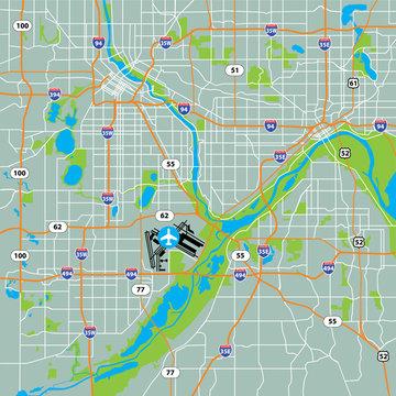 Vector Twin Cities Minneapolis-Saint Paul, USA Road Map Green Background