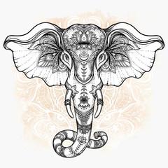 Beautiful hand-drawn tribal style elephant over mandala. Colorful design with boho pattern, psychedelic ornaments. Ethnic poster, spiritual art, yoga. Indian god Ganesha, Indian symbol.