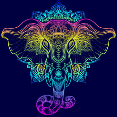 Beautiful hand-drawn tribal style elephant over mandala. Colorful design with boho pattern, psychedelic ornaments. Ethnic poster, spiritual art, yoga. Indian god Ganesha, Indian symbol.