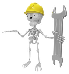 3D Skeleton Mascot is holding electric wrench. 3D Skull Character Design Series.