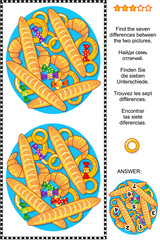Visual puzzle: Find the seven differences between the two pictures of baked goods and candy. Answer included.