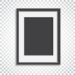 Realistic photo frame on isolated background. Pictures frame vector illustration. Simple business concept pictogram.