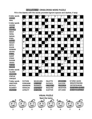 Halloween themed puzzle page with 19x19 criss-cross word game (English language) and visual puzzle with whimsical pumpkins.  Black and white, A4 or letter sized.