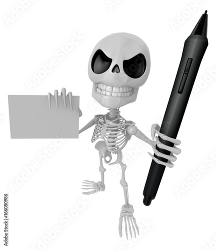 3D Skeleton Mascot is Holding a tablet pen and business card in hand