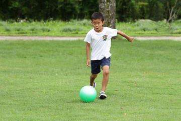 サッカーボールを蹴る小学生(2年生)