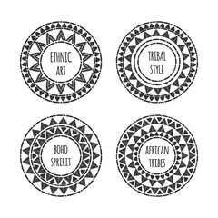 Unique round shape logo template set vector. Tribal hand drawn design for branding, badge, poster, apparel print, sticker or labels.