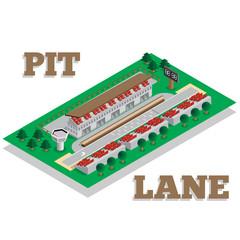 Pit-lane. Isometric. Vector illustration.