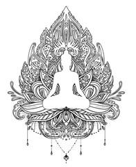 Vector ornamental Lotus flower with silhouette of Buddha, ethnic art, Indian paisley. Hand drawn illustration. Invitation element. Tattoo, spirituality, boho, magic symbol.