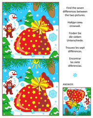 New Year or Christmas visual puzzle: Find the seven differences between the two pictures with Santa's sack. Answer included.
