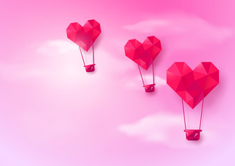 Hot air balloons Heart shaped flying on pink sky background. Low polygonal and origami style design