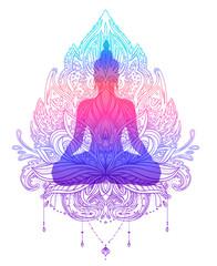 Sitting Buddha silhouette over ornamental Lotus flower. Esoteric vector illustration. Vintage decorative, Indian, Buddhism, spiritual art. Hippie tattoo, spirituality.