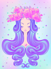 Cute teen girl with closed eyes and long hair. Mix of art nouveau and kawaii gothic style. Hipster, pastel goth, vibrant colors isolated. Vector illustration.