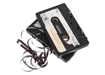 Audio cassettes on a white background