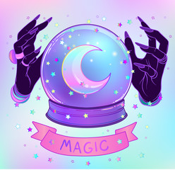 Crystal Ball with purple female alien hands over gradient mesh background. Creepy cute vector illustration. Gothic design, mystic magician symbol, pastel colors.