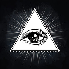 Eye of Providence. Masonic symbol. All seeing eye inside triangle pyramid. New World Order. Hand-drawn alchemy, religion, spirituality, occultism. Isolated vector illustration.