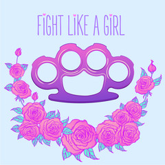 Fight like a girl. Purple brass knuckles icon in cartoon style