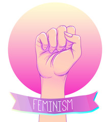 Woman's hand with her fist raised up. Girl Power. Feminism concept. Realistic style vector illustration in pink pastel goth colors isolated on white.