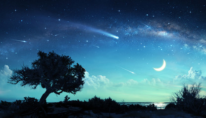 Printed kitchen splashbacks Night blue Shooting Stars In Fantasy Landscape At Night