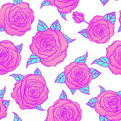 Red Roses over deep blue background. Seamless elegant vintage floral pattern. Design for fabric, textile, wrapping paper, wallpaper, wedding concept.