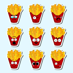 Cartoon fries cute character face isolated vector illustration. Funny face icon collection. Cartoon face food emoji. Fries emoticon. Funny food sticker.