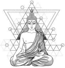 Sitting Buddha over ornate rose flower. Esoteric vintage vector illustration. Indian, Buddhism, spiritual art. Hippie tattoo, spirituality, Thai god, yoga zen
