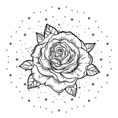 Rosicrucianism symbol. Blackwork tattoo flash. All seeing eye, Cristian cross with rose flower. Sacred geometry. Vector illustration isolated on white. Tattoo design, mystic symbol.