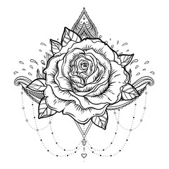 Rosicrucianism symbol. Blackwork tattoo flash. All seeing eye, Cristian cross with rose flower. Sacred geometry. Vector illustration isolated on white. Tattoo design, mystic symbol.