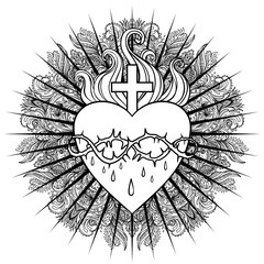 Sacred Heart of Jesus. Vector illustration isolated on white over mandala background. Vintage style element. Spirituality, occultism, alchemy, magic, love.