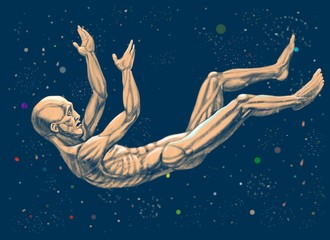 A man falls down in the cosmos (nescience)