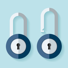 The padlock icon in flat style on color background. Open and closed lock. Element for you project. Vector design object