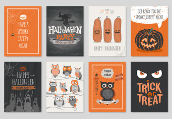 Wall Mural - Halloween hand drawn invitation or greeting Cards set.