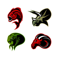 Furious piranha, ram, snake and dinosaur head sport vector logo concept set isolated on white background.