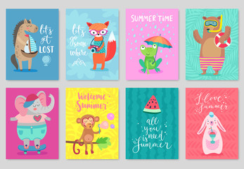 Wall Mural - Animals card set, hand drawn style, summer theme.